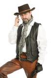 Interessante mens die op een mobiele telefoon spreekt Royalty-vrije Stock Afbeeldingen