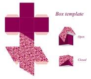 Interessante Schablone des quadratischen Kastens mit Deckel und nahtlosem Muster Lizenzfreies Stockfoto