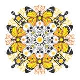 Interessantes symmetrisches Muster mit den Schädeln und skel vektor abbildung
