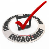 Interesse di Mark Box Ring Audience Interaction del controllo di impegno Immagini Stock Libere da Diritti