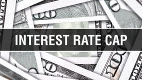 Interesse Rate Cap Closeup Concept Amerikanische Dollar des Bargeld-, Wiedergabe 3D Interesse Rate Cap an der Dollar-Banknote Fin vektor abbildung