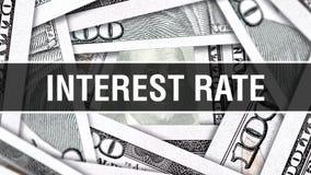 Interesse Rate Closeup Concept Amerikanische Dollar des Bargeld-, Wiedergabe 3D Zinssatz auf Dollar-Banknote Finanz-USA-Geldverbo stock abbildung