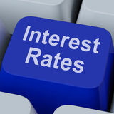Interesse Rate Key Shows Investment Percent online Immagine Stock