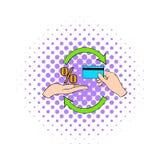 Interesse sull'icona della carta di credito, stile dei fumetti Immagini Stock Libere da Diritti