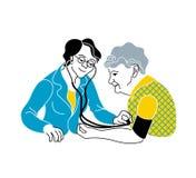Interessieren für die älteren Personen Medizinische Diagnose der Beratung lizenzfreie abbildung