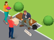 Interessieren für Obdachlosen Hilfsobdachloser Schmutziger obdachloser Mann, der das Zeichen bittet um Hilfe hält Flacher isometr vektor abbildung
