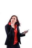 Interessierte Frau und Rechner. Lizenzfreies Stockfoto
