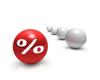 Interest. Rendering of a white percent sign on a red sphere Royalty Free Stock Photos