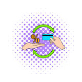 Interest on credit card icon, comics style Royalty Free Stock Images