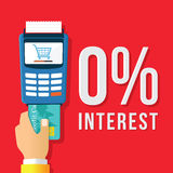 0% interest Credit payment. Credit card payment method illustration stock illustration