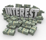 Interest Financial Income Earnings Money Stacks Credit Debt Fees Royalty Free Stock Images