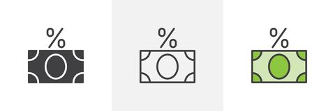 Interest loan icon. Line, glyph and filled outline colorful version, Percentage money outline and filled vector sign. Symbol logo illustration. Different style royalty free illustration