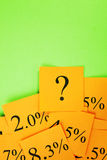 Interest Mortgage Rates and Question Orange Green Stock Images