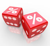 Interest Percent Sign on Dice Signs Gamble for Best Rate. Percent signs on two red dice to symbolize taking a chance to win or find the best interest rates Royalty Free Stock Images