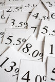 Interest Rate Background. Different interest rates on cards, arranged as a background Stock Photography