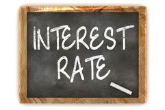 Interest Rate Blackboard. A Colourful 3d Render Interest Rate Concept Blackboard Illustration Stock Photo