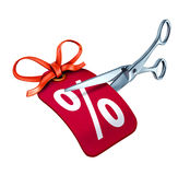 Interest rate cut. Low interest rate cut represented by scissors cutting a red price tag with a percentage sign royalty free illustration