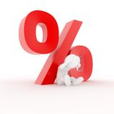 Interest Rate Pressure. 3D character worried about rising rates Royalty Free Stock Photos