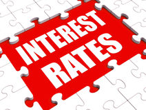 Interest Rate Puzzle Shows Investment Stock Images