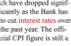 Interest rates. Abstract blurry image of the word Interest rates Stock Photo