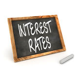 Interest Rates Blackboard. A Colourful 3d Render Interest Rates Concept Blackboard Illustration Royalty Free Stock Images