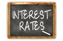 Interest Rates Blackboard. A Colourful 3d Render Interest Rates Concept Blackboard Illustration Royalty Free Stock Image