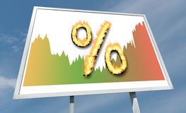 Interest rates concept on a billboard. Interest rates concept drawn on a billboard Stock Image