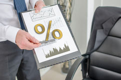 Interest rates concept on a clipboard Royalty Free Stock Image