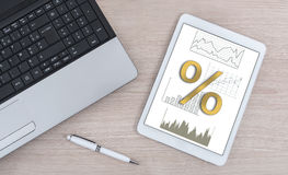 Interest rates concept on a digital tablet. Interest rates concept shown on a digital tablet Royalty Free Stock Photo