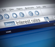 Interest rates concept. Illustration depicting a screenshot of an internet search with an Interest rates concept Stock Photos