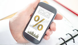 Interest rates concept on a smartphone. Interest rates concept shown on a smartphone screen Stock Photos