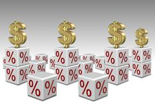 Interest rates high and low. A group of white cubes with percentage symbol in them and dollar symbols on top Stock Photos