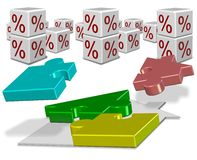Interest rates and house mortgage Royalty Free Stock Images