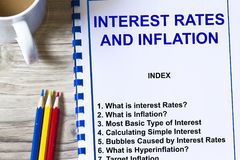 Interest rates and inflation seminar stock photos