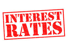 INTEREST RATES. Red Rubber Stamp over a white background Royalty Free Stock Photography