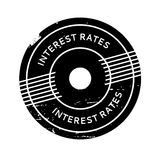 Interest Rates rubber stamp. Grunge design with dust scratches. Effects can be easily removed for a clean, crisp look. Color is easily changed Royalty Free Stock Photography