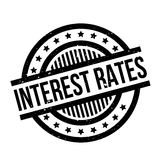 Interest Rates rubber stamp. Grunge design with dust scratches. Effects can be easily removed for a clean, crisp look. Color is easily changed Royalty Free Stock Photos