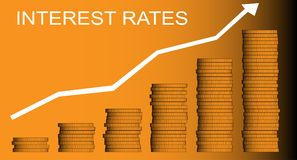 Interest Rates. A stack of coins and an arrow pointing upwards with the legend interest rates in white vector illustration