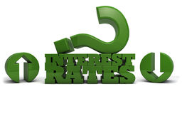 Interest rates up or down. Illustration depicting the words interest rates with a large question mark Royalty Free Illustration