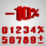 Interest rebate set red numbers Stock Image