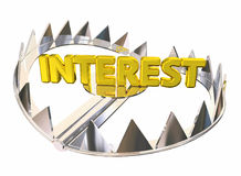 Interest Steel Bear Trap Caught Paying High Fees 3d Illustration. Interest Steel Bear Trap Caught Paying High Fees Illustration Stock Photo
