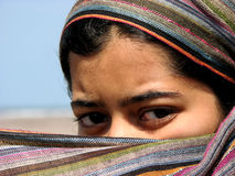 Interested?. A Indian lady dressed up like an Arabian woman Royalty Free Stock Images