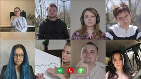 Interested and bored people discussing business strategy in video chat. Multiscreen of eight Caucasian colleagues. Blond