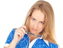 Interested business woman Stock Photo