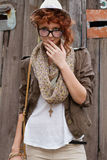 Interested hipster girl. She is interested in something or someone Royalty Free Stock Images
