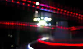 Interesting and abstract red lights and bokeh in a row and line Stock Photos