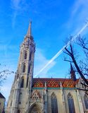 Interesting angle from the Matthias Church located in Budapest, Hungary royalty free stock images