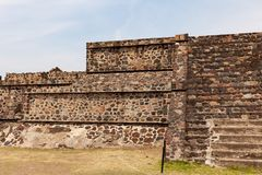 Pyramid building of Teotihuacan with stairs and structure royalty free stock photos