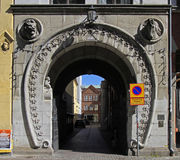 Interesting arch passage in old town of Malmo, Sweden Stock Photos