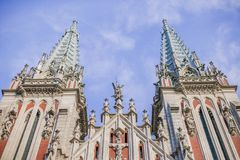 Interesting architecture of the church in Europe, in Ukraine. royalty free stock photography